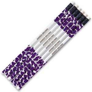 Purple Leopard #2 Hardwood Personalized Pencils