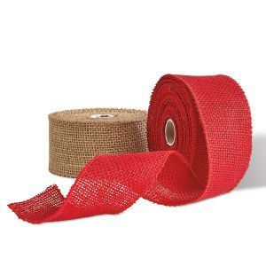 Wired Burlap Ribbon Natural and Red