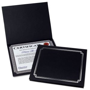 Classic Black Certificate Folder with Silver Border