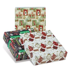 Woodland Collection Jumbo Rolled Christmas Wrapping Paper Set