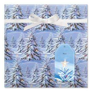 Snowy Tree Jumbo Rolled Gift Wrap and Labels