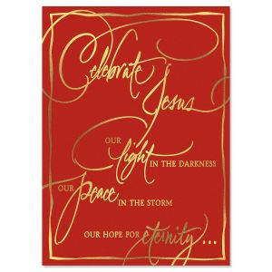 Faith Calligraphy Deluxe Foil Religious Christmas Cards