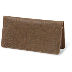 Italian Tile Embossed Leather Checkbook Cover