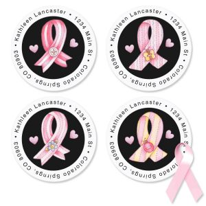 Pink Ribbon by Dianna Marcum Round Address Labels  (4 designs)
