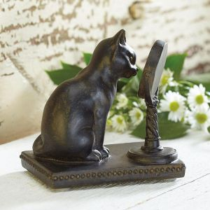 Cat with Mirror Figurine