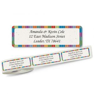Bright Stripes  Designer Rolled Address Labels