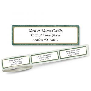 Green Border  Designer Rolled Address Labels