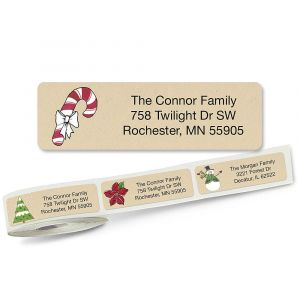 Krafty Christmas  Designer Rolled Address Labels  (5 designs)