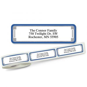 Blue and Silver Frame Designer Rolled Address Labels