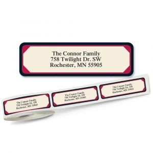 Red & Black Frame Designer Rolled Address Labels