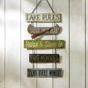 Lake Rules Rustic Metal Sign