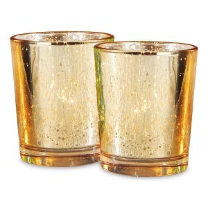 Gold Glass Tealight Holders - BOGO