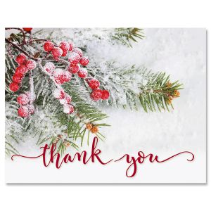 Berries & Pine Christmas Thank You Cards - BOGO