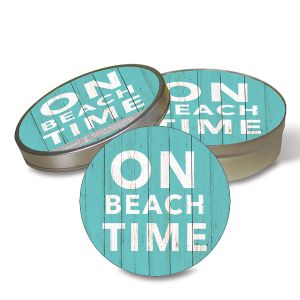 Beach Time Coasters in a Tin