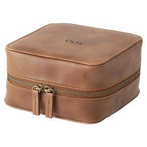Personalized Faux Leather Tech Travel Case, Suede Brown