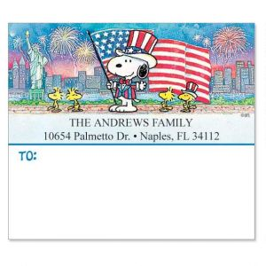 Snoopy™ Celebrates! Shipping Address Labels - Set of 36