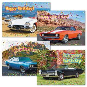 Classic Cars Birthday Cards and Seals
