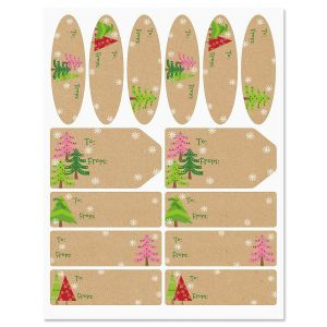 Christmas Trees Kraft Labels