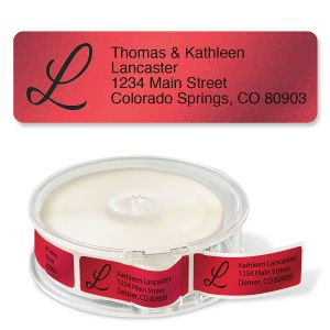 Red Foil with Initial Standard Rolled Address Labels