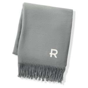 Grey Two Toned Personalized Reversible Throw