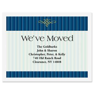 Navy Pinstripe New Address Postcards