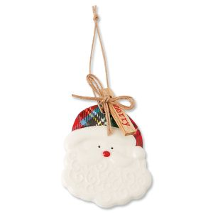 Ceramic Christmas Santa Claus Tartan Ornament