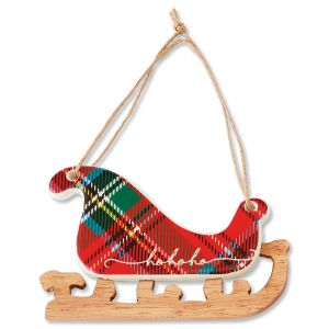 Ceramic Christmas Sled Tartan Ornament