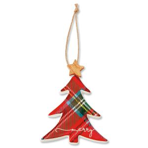 Ceramic Christmas Tree Tartan Ornament