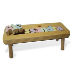 Pastel Name Wooden Puzzle Footstool