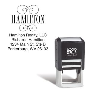 Square Name Self-Inking Address Stamp