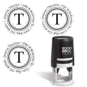 Monogram Round Self-Inking Address Stamper