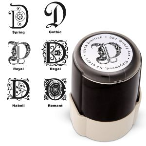 Center Initial Round Self Inking Address Stamp