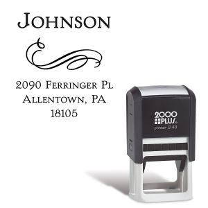 Filigree Square Self-Inking Address Stamp