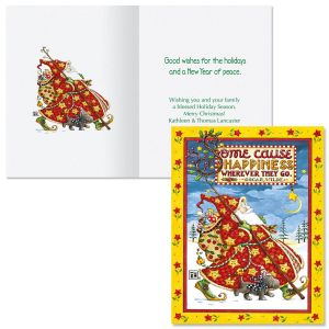 Personalized Check Cherry Santa Note Card Size Christmas Cards