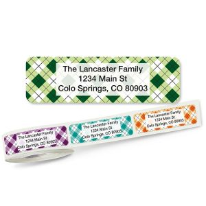 Argyle Rolled Address Labels  (5 Designs)