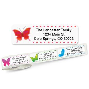 Watercolor Butterflies Rolled Address Labels  (5 Designs)