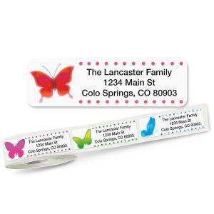 Watercolor Butterflies Rolled Address Labels  (5 Designs)