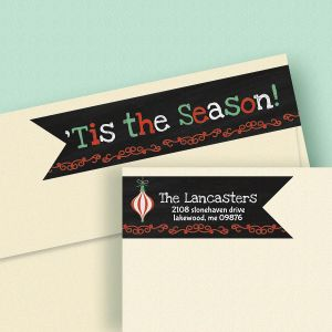 Chalkboard Christmas Connect Wrap Around Diecut Address Labels
