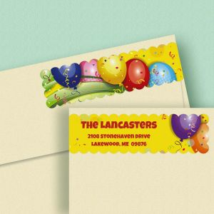 Balloons Connect Wrap Diecut Address Labels