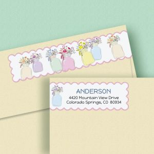 Mason Jar Connect Wrap Diecut Address Labels  (4 Colors)