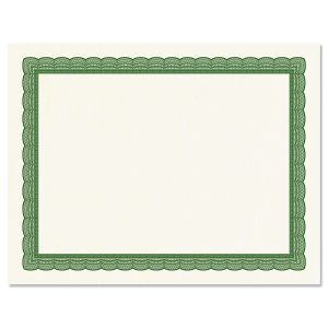 Executive Green Certificate on White Parchment
