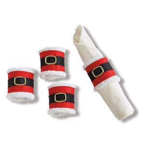 Set of 4 Santa Belt Napkin Holders