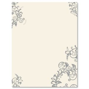 Spring Gray Flourish Easter Letter Papers