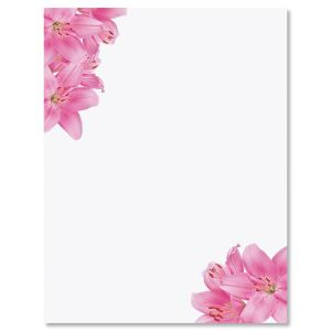 Pink Lillies Letter Papers