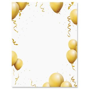 Gold Balloons Letter Papers