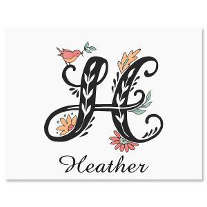 Floral Monogram Custom Note Cards