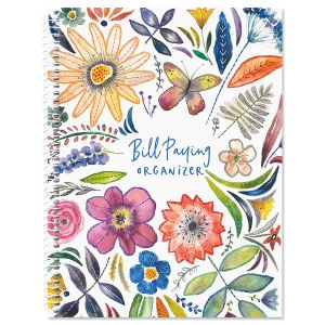 Embroidered Florals Bill Paying Organizer