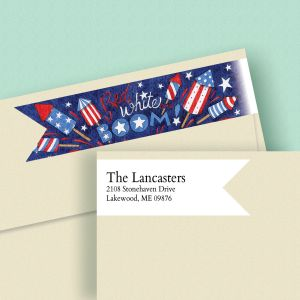 Red White Boom Wrap Around Diecut Address Labels