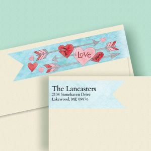 Arrow Hearts Wrap Around Diecut Address Labels