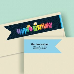 Striped Birthday Wrap Around Connect Diecut Address Labels